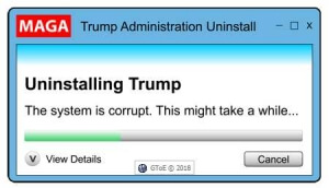 Uninstalling Trump dialog box